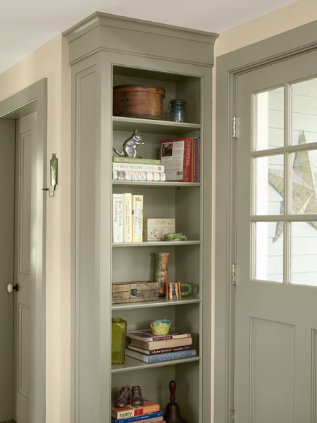 open shelves in kitchen with crown molding, whole house remodel farmhouse addition