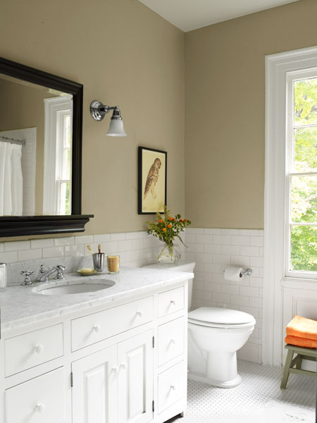 neutral tone full bath with white finishes, whole house remodel farmhouse addition