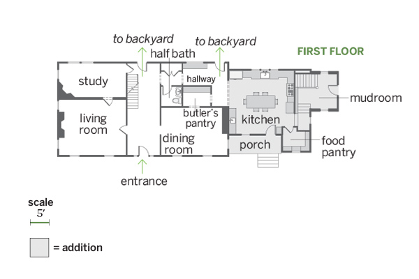 first floor floor plan, whole house remodel farmhouse addition
