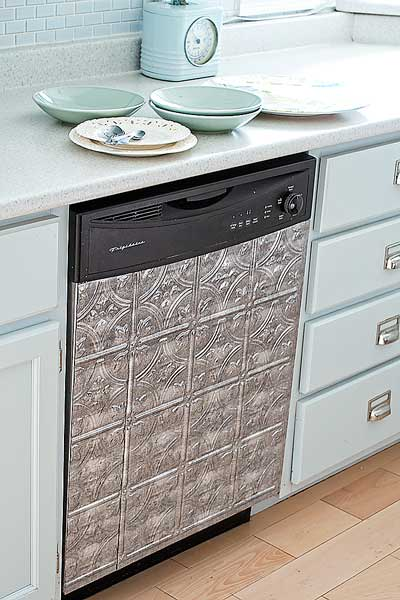 money saving blogger DIY project faux tin tile dishwasher panel