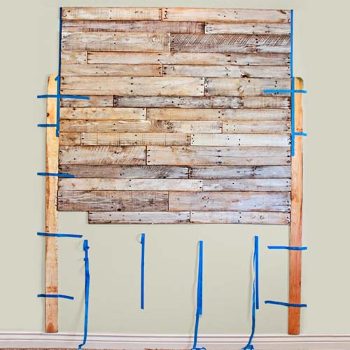 money saving blogger DIY project shipping pallet wood headboard step 3