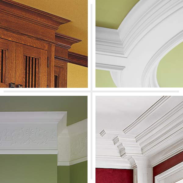composite of different crown molding trim designs