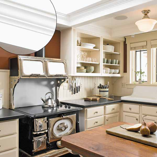 Brightened up compact kitchen 39 crown molding design for Federal style kitchen