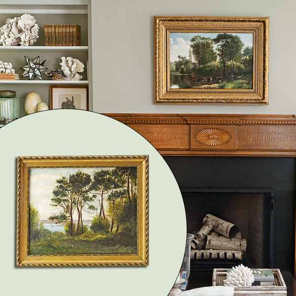 get this look naturalist living room with framed landscape over mantel