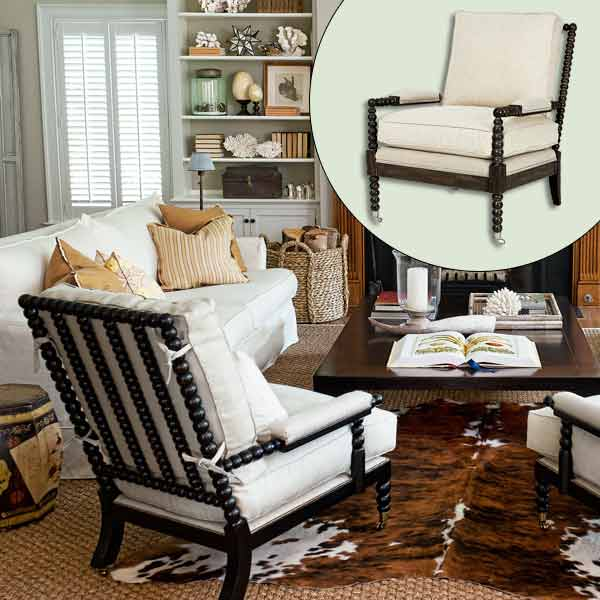 get this look naturalist living room with chair with spool legs and casters
