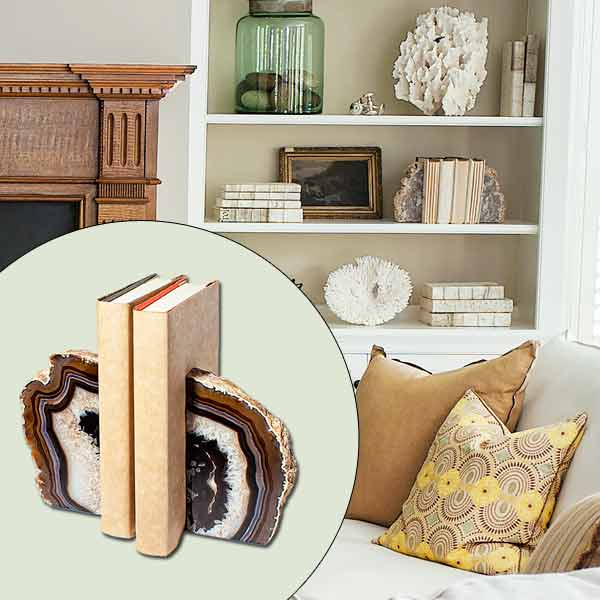 get this look naturalist living room with stone agate bookends on built-in bookshelves