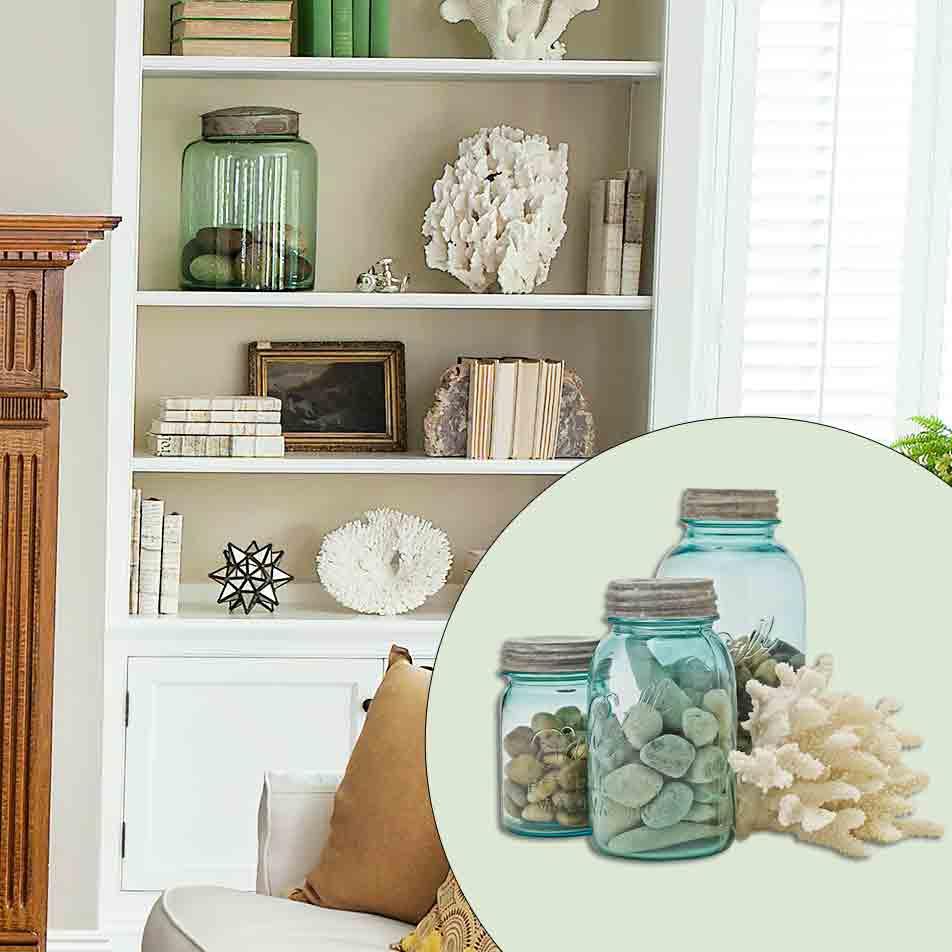 get this look naturalist living room with vintage green glass specimen jars
