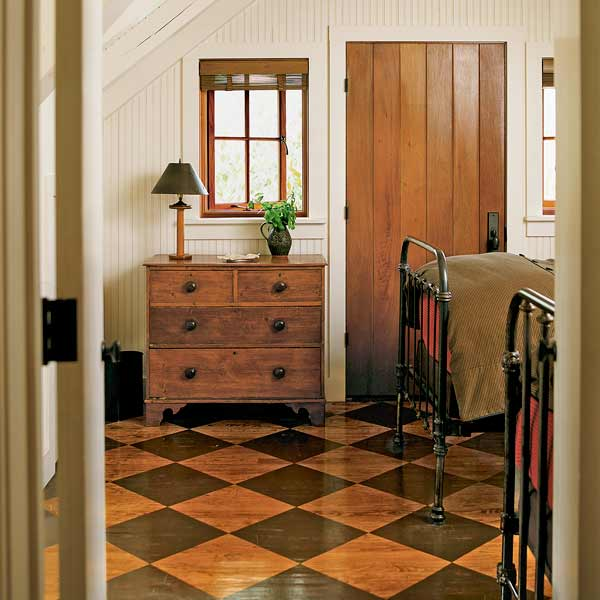 easy thrifty vintage charm update stained wood floor checked pattern