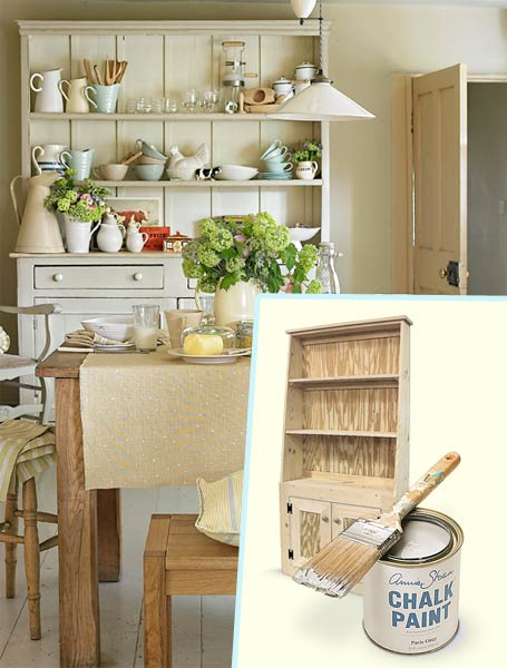 a breakfast nook decorated in a farmhouse style with inset hutch and chalk paint and brush
