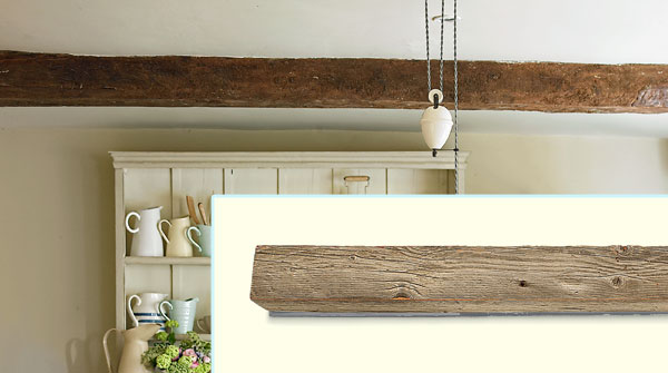 a breakfast nook decorated in a farmhouse style with inset of faux wood beam