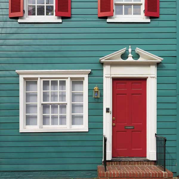 colorful house with red front door