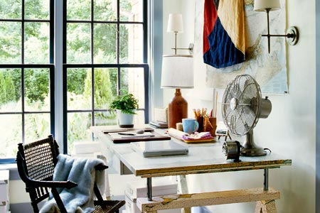 home office with nautical-themed accents