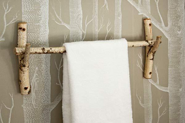 easy upgrade custom look bath towel rod of birch branches, tree wallpaper