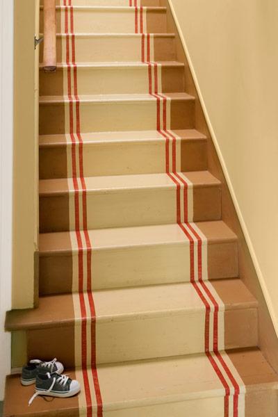 easy upgrade custom look painted stair runner