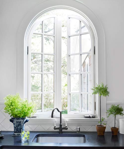 easy upgrade custom look arched window over kitchen sink