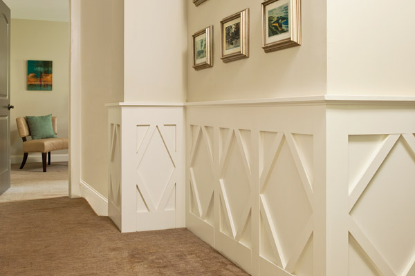 easy upgrade custom look diamond wainscot in hall