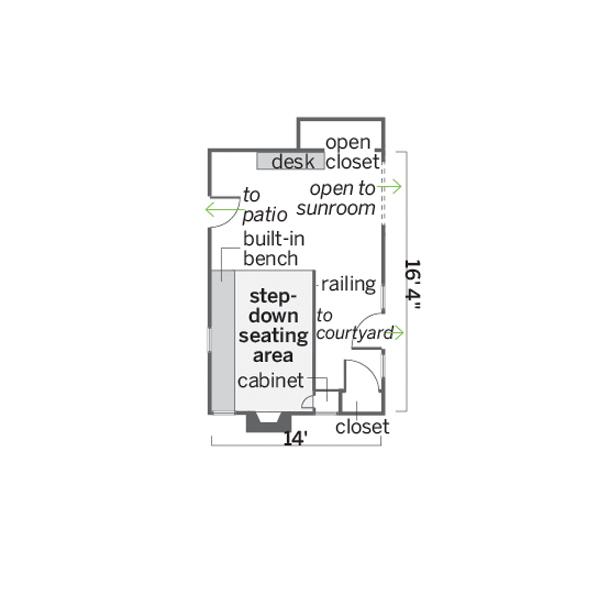 before women's den remodel floor plan
