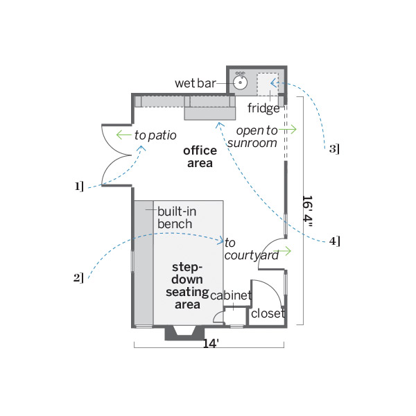 after women's den remodel floor plan