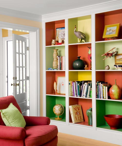 mix and match grid of uniform cubes for the paint shelves gallery at this old house dot com