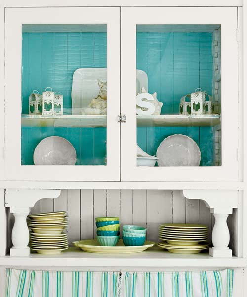 glass door hutch with blue back from the paint shelves gallery at this old house dot com