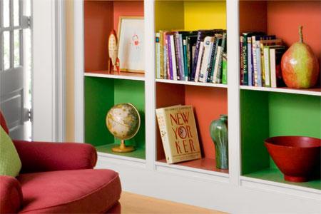 painting inside of shelves 2