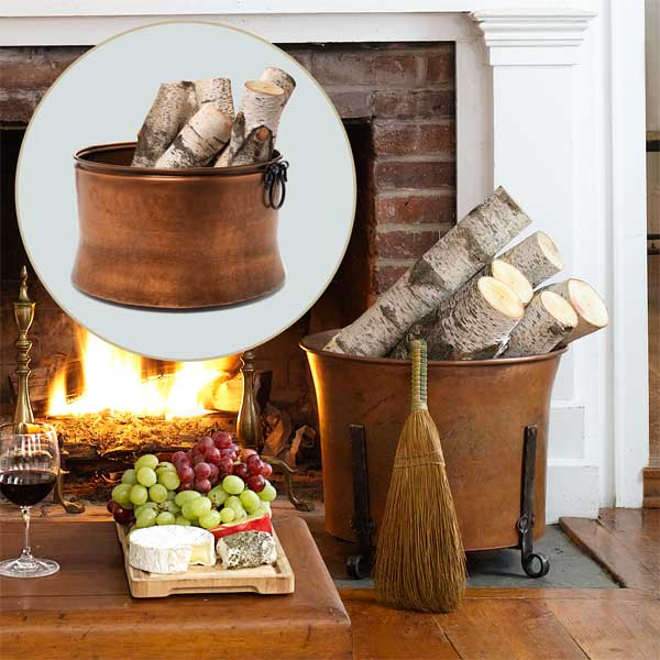 Handsome Log Holder to Create a Colorful Holiday Hearth
