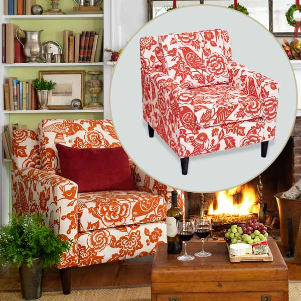 Orange Print Chair to Create a Colorful Holiday Hearth