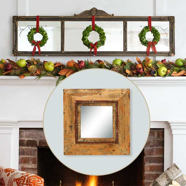 Weathered Mirror to Create a Colorful Holiday Hearth