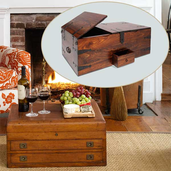 Trunk Table to Create a Colorful Holiday Hearth