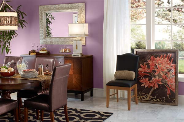 dining area with Behr Plum Swirl 680f-5 purple paint on walls, Pantone color of the year 2014 radiant orchid