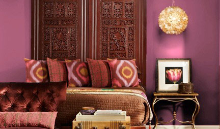 bedroom with Valspar Deep Sunset 10053A purple paint on walls, Pantone color of the year 2014 radiant orchid