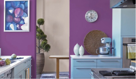 kitchen with Valspar Cosmic Berry 4001-10C purple paint on walls, Pantone color of the year 2014 radiant orchid