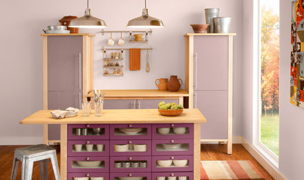 kitchen with ValsparMagic Mist 1003-10B, Dusky Hyacinth 1003-10A, Plumberry 1004-3A purple paint on walls, Pantone color of the year 2014 radiant orchid