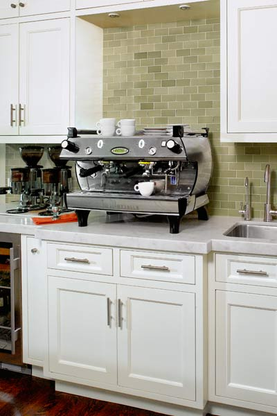 open kitchen remodel after with coffee bar