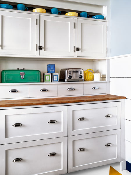 A Kitchen With Vintage Character: Disguised Refrigerator And Freezer Drawers