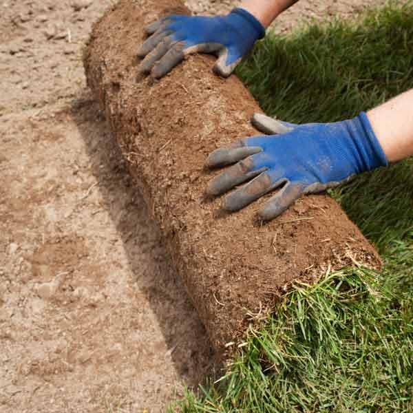 DIY calorie burners woman laying sod in yard