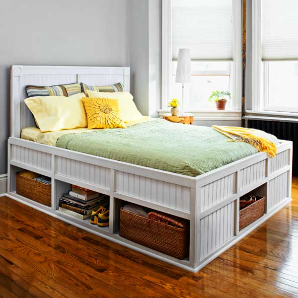Storage bed 27 ways to build your own bedroom furniture this old house - Build your own king size platform bed ...