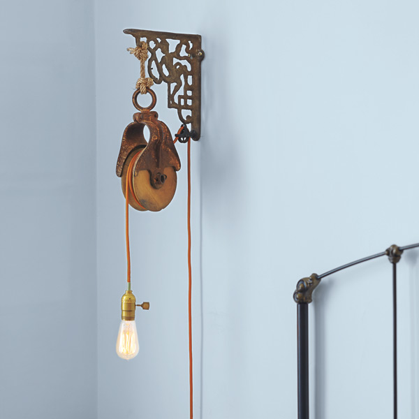 bedroom furniture step by step projects Barn-Pulley Wall-Mounted Light