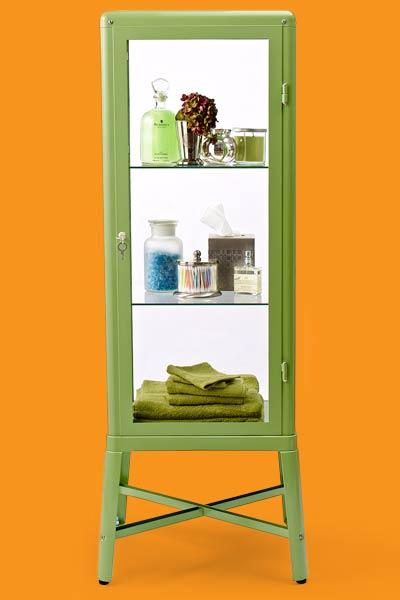 a free-standing bath storage cabinet
