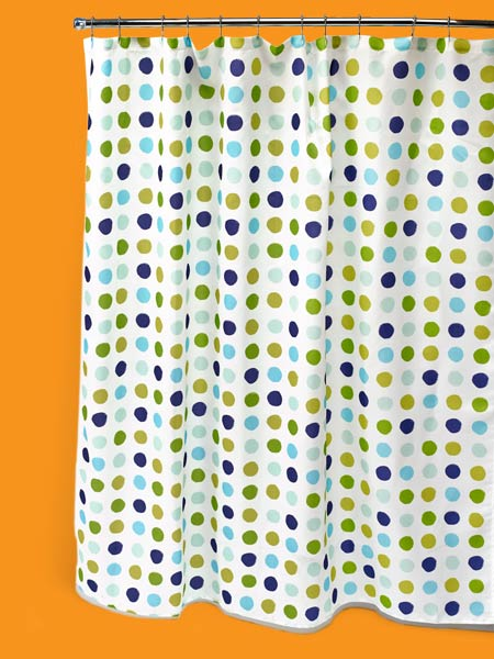 a colorful shower curtain
