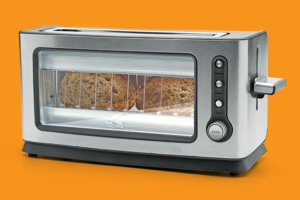 a toaster oven with an easy to watch window