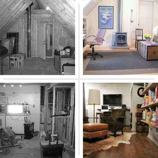 2013 reader remodel attic basement family room before and afters