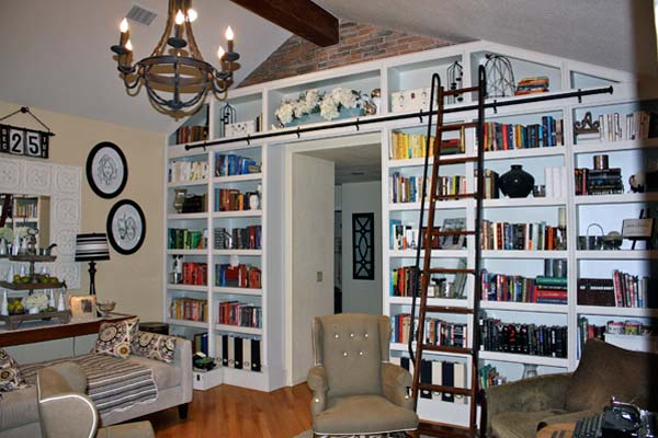 A Wall of Bookshelves: After from this old house reader remodel Best Built-Ins Before and Afters 2013