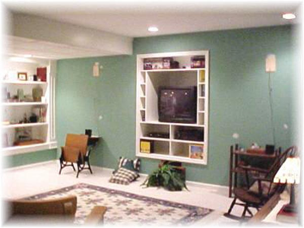 Quincy Man Cave : Whole room remodel with built ins before best