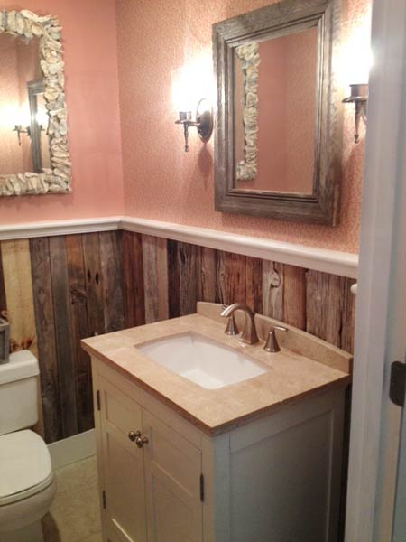 Rustic driftwood wainscot 23 savvy and inspiring small bath designs this old house Bathroom designs wood paneling