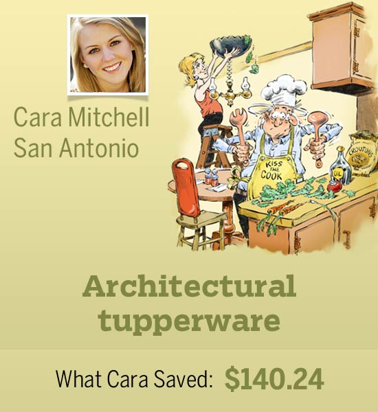 homeowner Cara Mitchell and an illustration of her cost-saving shortcut