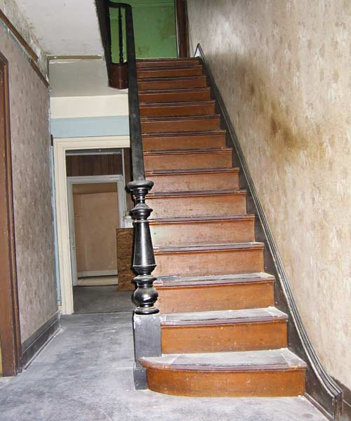 save this old house danville virginia italianate hall staircase with turned newel post, heart pine floors
