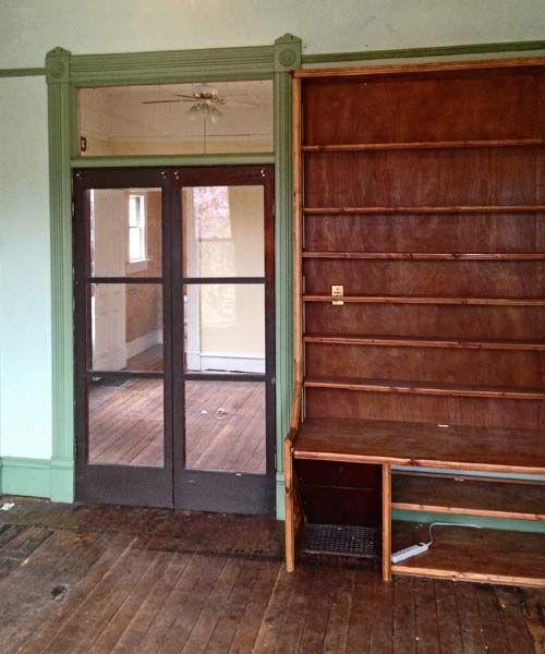 folk victorian cottage dining room with french doors, portland oregon, save this old house