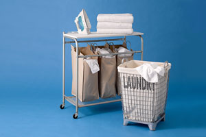 2 styles of laundry bin with accessories