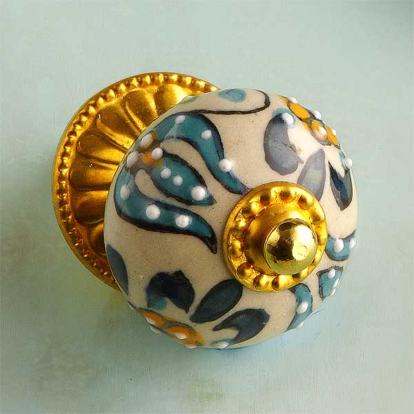 Gilded and Global Ceramic Cabinet Knob